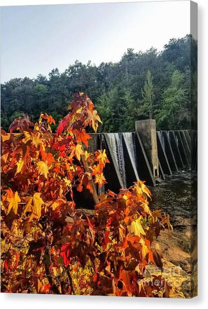 Canvas Print featuring the photograph De Soto Falls In Autumn by Rachel Hannah