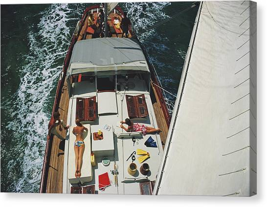Deck Dwellers Canvas Print by Slim Aarons