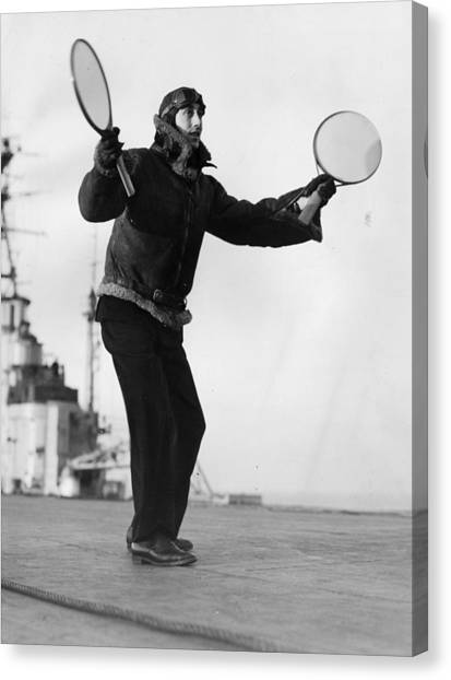 Protective Clothing Canvas Print - Deck Landing by Chas E Brown