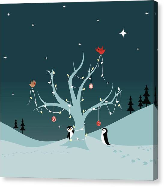 Decorating The Tree Canvas Print by Lumpynoodles