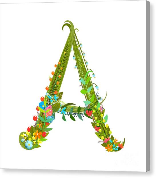 Decorative Botanical Elegant Alphabet Canvas Print by Popmarleo