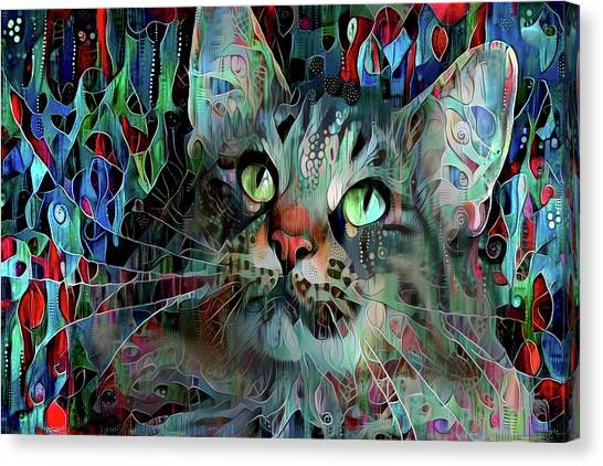 Deedee In Blue And Red Canvas Print