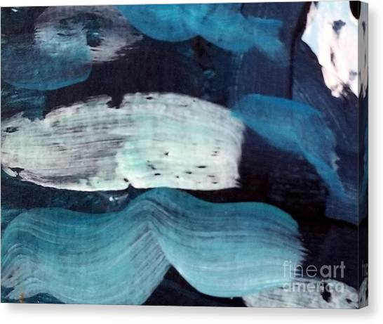 Canvas Print featuring the painting Deep Blue #3 by Maria Langgle