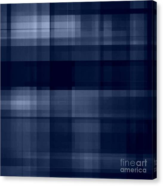 Canvas Print featuring the digital art Deep Blue Plaid by Rachel Hannah