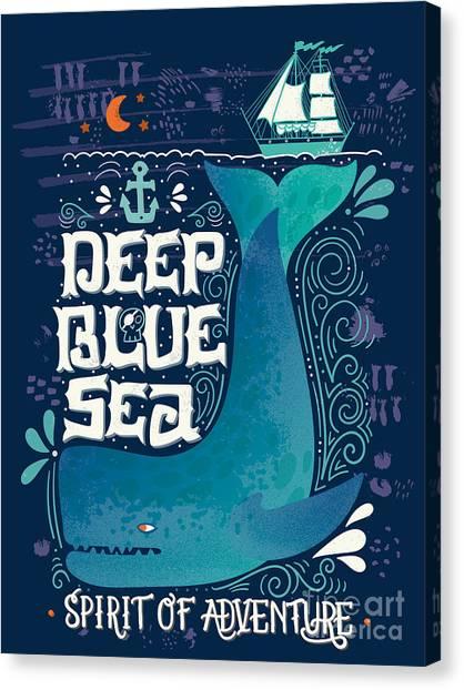 Yacht Canvas Print - Deep Blue Sea. Hand Drawn Nautical by Julia Henze