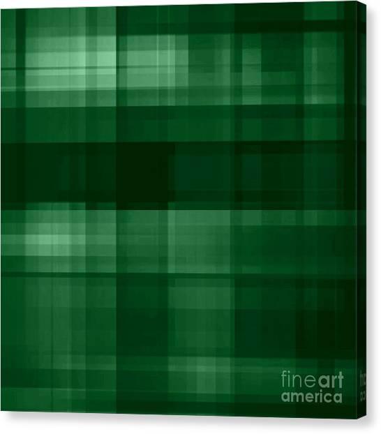 Canvas Print featuring the digital art Deep Green Plaid by Rachel Hannah