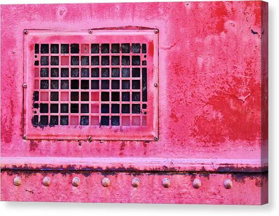 Old Train Canvas Print - Deep Pink Train Engine Vent by Carol Leigh