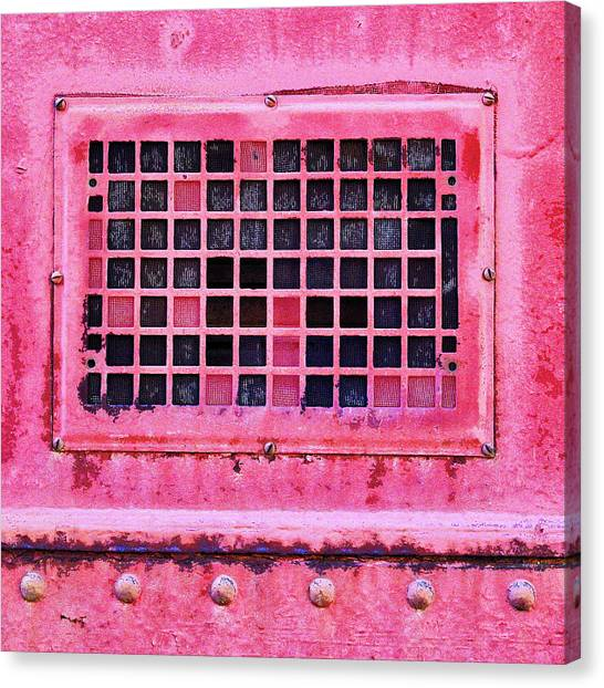 Old Train Canvas Print - Deep Pink Train Engine Vent Square Format by Carol Leigh
