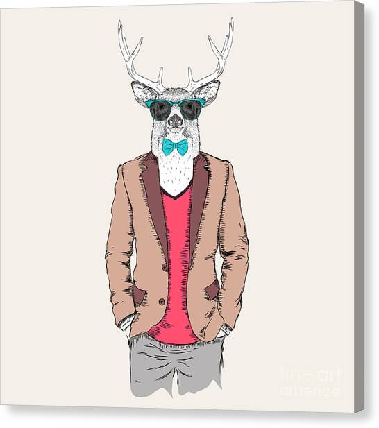 Elk Canvas Print - Deer Hipster Dressed Up In Jacket by Sunny Whale