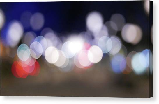 Defocused Lights At Night Canvas Print by Jasmin Awad / Eyeem
