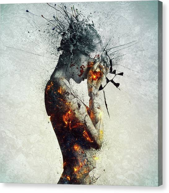 Girl Canvas Print - Deliberation by Mario Sanchez Nevado