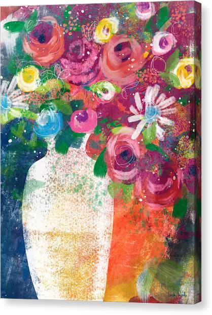 Canvas Print featuring the mixed media Delightful Bouquet 2- Art By Linda Woods by Linda Woods