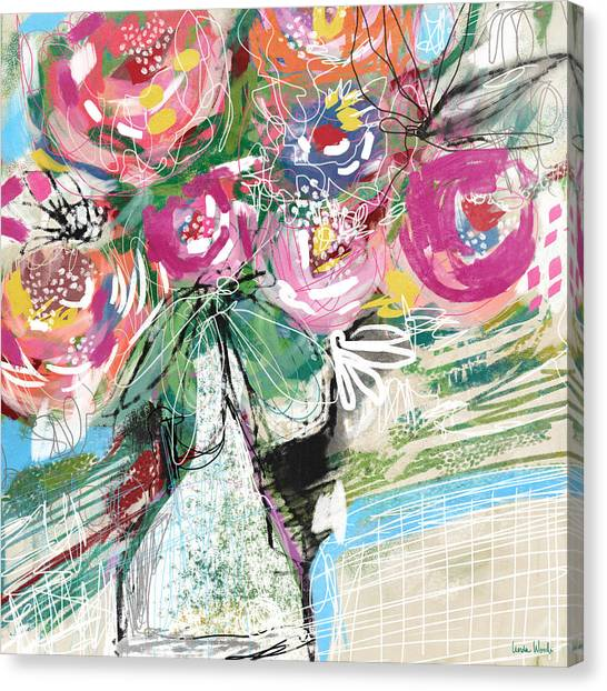 Canvas Print featuring the mixed media Delightful Bouquet 3- Art By Linda Woods by Linda Woods