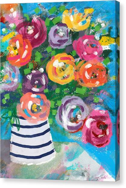 Canvas Print featuring the mixed media Delightful Bouquet 6- Art By Linda Woods by Linda Woods