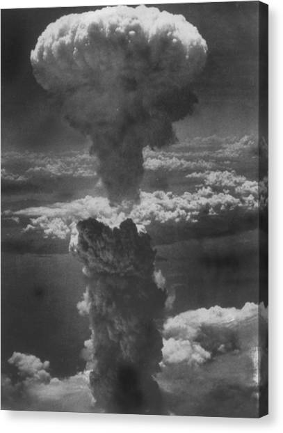 Dense Column Of Smoke Capped By Mushroom Canvas Print by Time Life Pictures