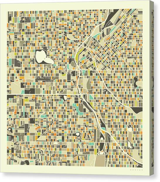 Colorado Canvas Print - Denver Map 1 by Jazzberry Blue