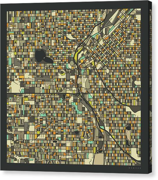 Colorado Canvas Print - Denver Map 2 by Jazzberry Blue