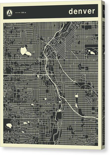 Colorado Canvas Print - Denver Map 3 by Jazzberry Blue