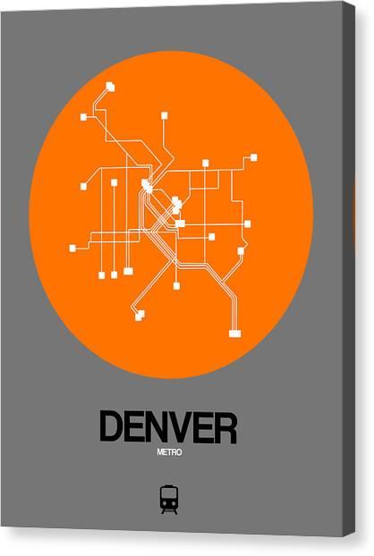 Trip Canvas Print - Denver Orange Subway Map by Naxart Studio