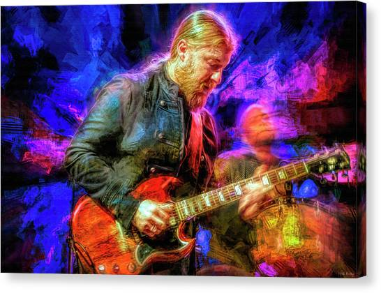 The Allman Brothers Canvas Print - Derek Trucks Guitar Player by Mal Bray