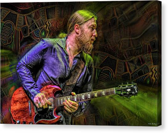 The Allman Brothers Band Canvas Print - Derek Trucks Guitarist by Mal Bray