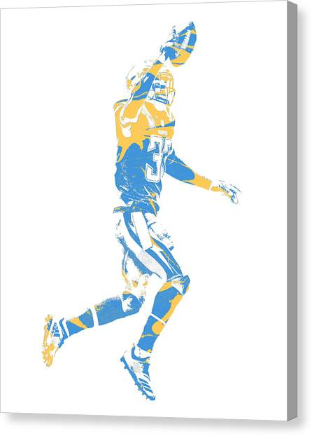Los Angeles Chargers Canvas Print - Derwin James Los Angeles Chargers Pixel Art 1 by Joe Hamilton