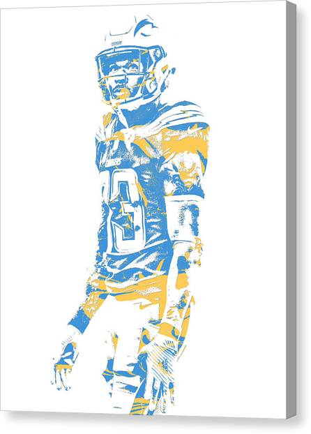 Los Angeles Chargers Canvas Print - Derwin James Los Angeles Chargers Pixel Art 2 by Joe Hamilton