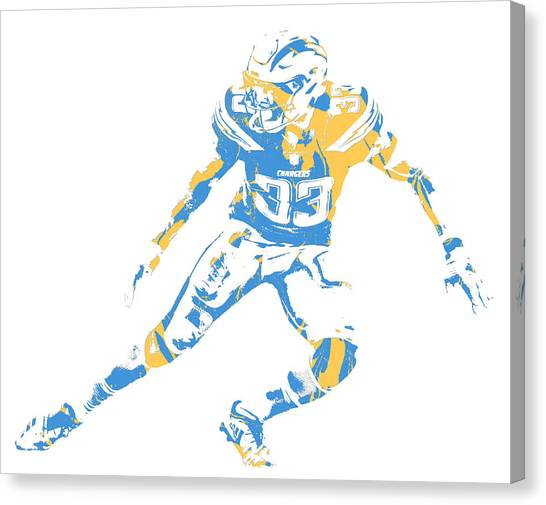 Los Angeles Chargers Canvas Print - Derwin James Los Angeles Chargers Pixel Art 3 by Joe Hamilton