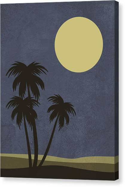 Cacti Canvas Print - Desert Palm Trees And Yellow Moon by Naxart Studio