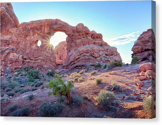 Canvas Print featuring the photograph Desert Sunset Arches National Park by Nathan Bush