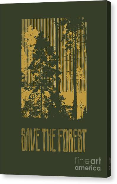 Engraving Canvas Print - Design Save The Forest For T-shirt by Jumpingsack