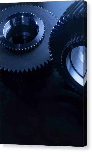 Detail Of Matching Gears In Blue Canvas Print by Caracterdesign
