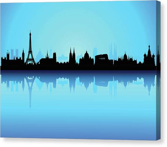 Detailed Europe Skyline Each Building Canvas Print by Leontura