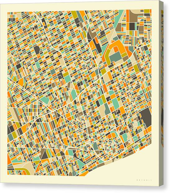 Michigan Canvas Print - Detroit Map 1 by Jazzberry Blue