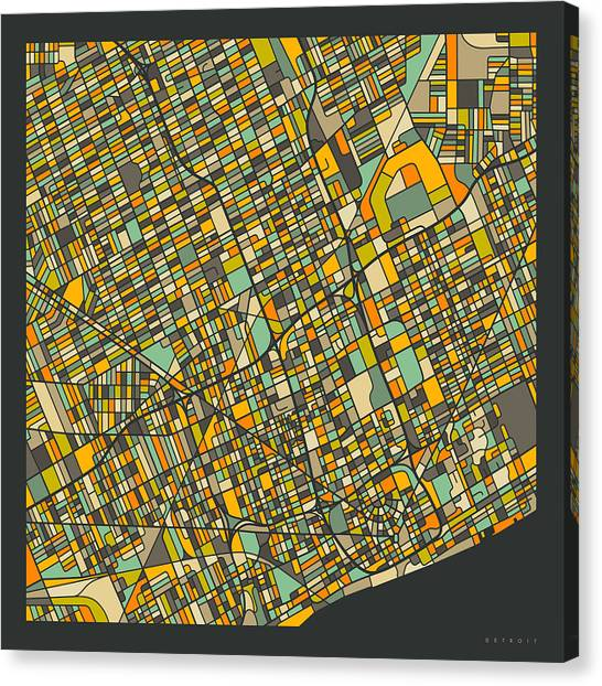 Michigan Canvas Print - Detroit Map 2 by Jazzberry Blue