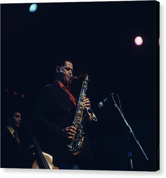 Dexter Gordon Performs On Stage Canvas Print by David Redfern