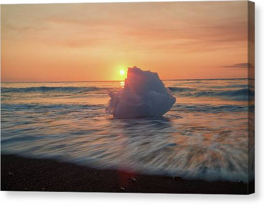 Canvas Print featuring the photograph Diamond Beach Sunrise Iceland by Nathan Bush