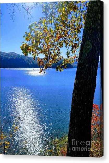 Canvas Print featuring the photograph Diamond Ripples On The Water by Rachel Hannah