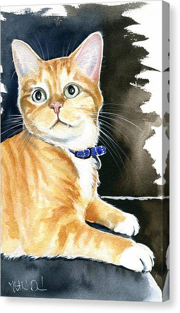 Diego Ginger Tabby Cat Painting Canvas Print
