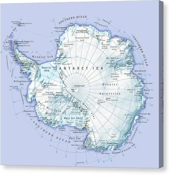 Digital Illustration Of Antarctica Canvas Print by Dorling Kindersley