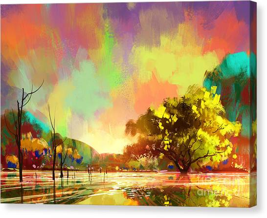 Acrylic Canvas Print - Digital Painting Of A Beautiful by Tithi Luadthong