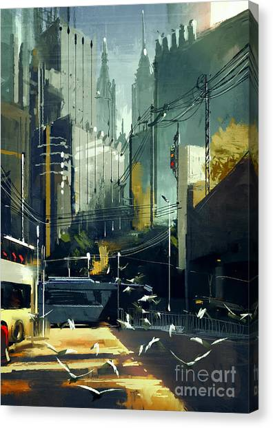 Acrylic Canvas Print - Digital Painting Of Urban Skyscrapers by Tithi Luadthong