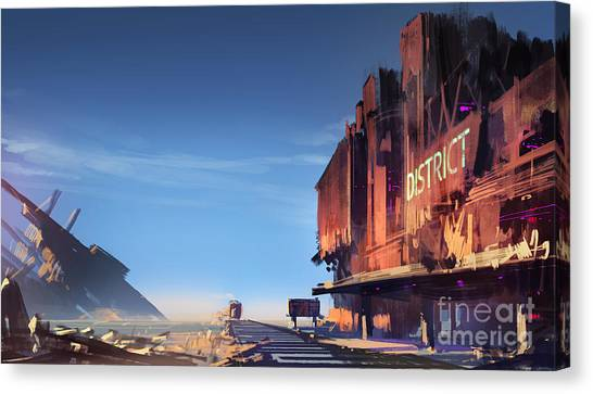 Old Train Canvas Print - Digital Painting Showing The Ruined by Tithi Luadthong