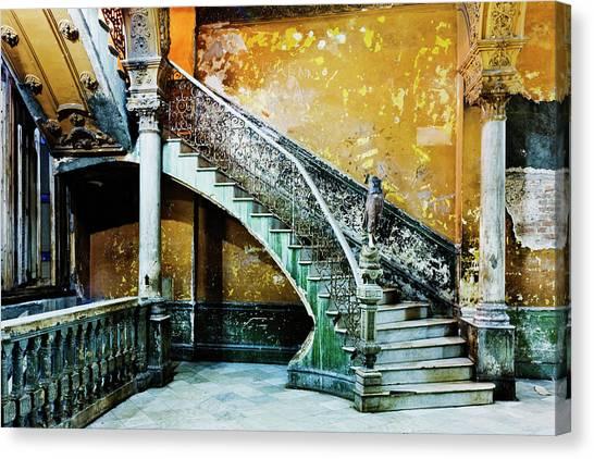 Dilapidated, Ornate Stairway Canvas Print