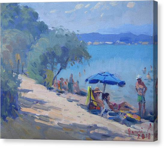Athens Canvas Print - Dilesi Beach Athens  by Ylli Haruni