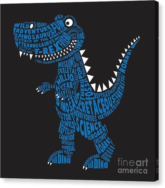Type Canvas Print - Dinosaur Illustration, Typography by Syquallo