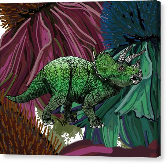Dinosaur Triceratops Flowers Canvas Print