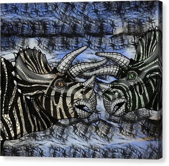 Dinosaur Triceratops Head On Battle Canvas Print