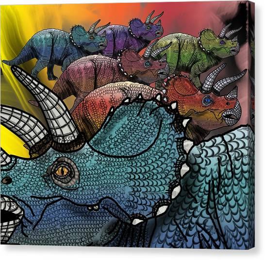 Dinosaur Triceratops Herd Canvas Print