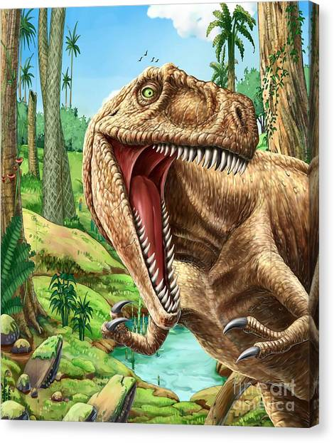 Science Education Canvas Print - Dinosaurs Living In The Jungle by Helena0105